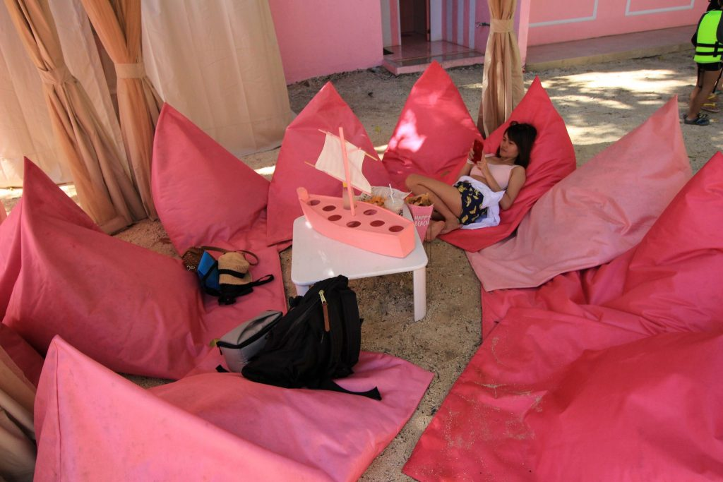 Me enjoying my siesta in the Pink Bali Lounge.
