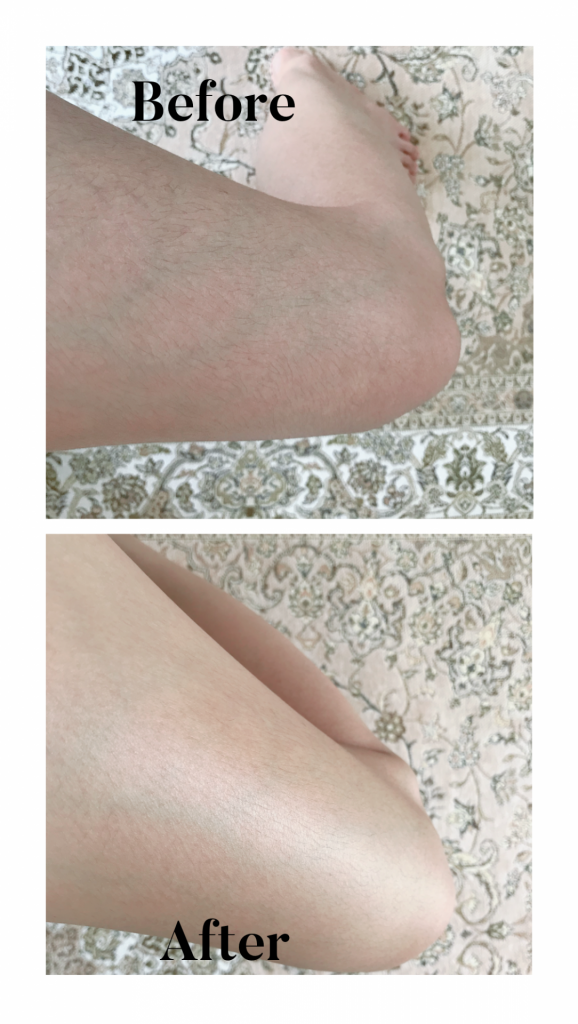 This photot shows the before and after result of Curel Deep Moisture Spray.