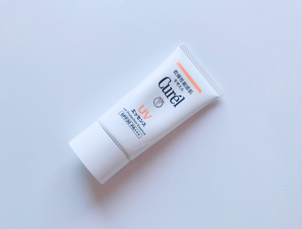 This is how the Curel UV Protection Essence SPF30 PA+++ looks like. The packaging is white and he word UV is in orange.